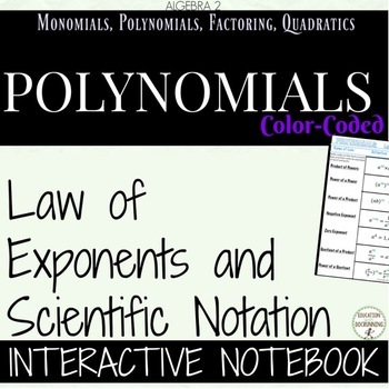 Law of Exponents and Scientific Notation Coded Interactive Notebook Algebra 2