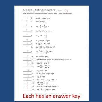 Laws Of Logarithms Quick Quiz Or Worksheet By Mathews House Tpt
