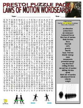Laws of Motion & Forces Puzzle Page (Wordsearch and Criss-Cross)