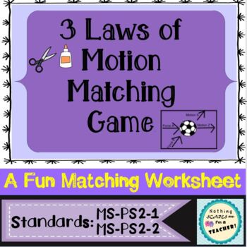 Laws of Motion Matching Game or Worksheet