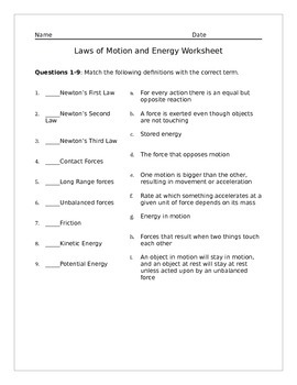 Laws of Motion and Energy Worksheet