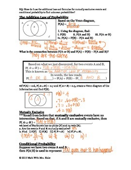 Laws of Probability Guided Notes