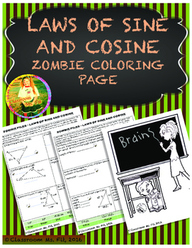 Laws Of Sine And Cosine Trigonometry Zombie Coloring Page By