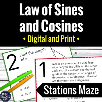 laws of sines and cosines stations maze by mrs e teaches math tpt. Black Bedroom Furniture Sets. Home Design Ideas