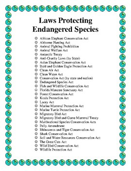 Laws that Protect Endangered Species