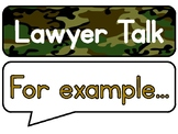 Lawyer Talk Posters for Guided Reading Discussion (Army/Camo)