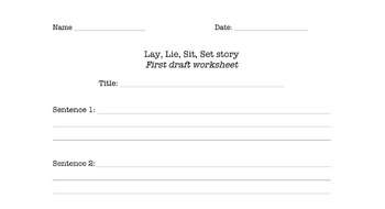 Lay, Lie, Sit, Set story/mini-book writing (commonly misused verbs practice)