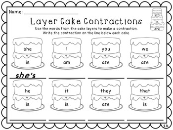 Layer Cake Contractions Practice Pack