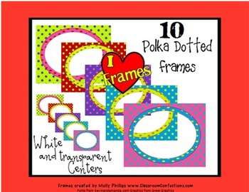 Layered Polka Dot Oval Frames {Commercial Use}
