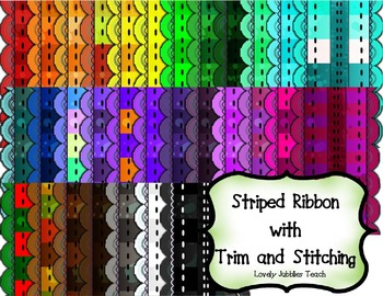 Striped Ribbon Clip Art with Trim Commercial Use
