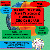 Layers of Earth, Plate Tectonics & Boundaries CHOICEs BOARD