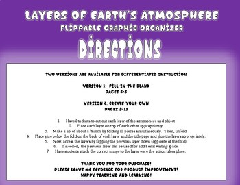 Layers of Earth's Atmosphere Flippable Graphic Organizer