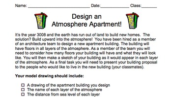 Layers of the Atmosphere Project - Design an Atmosphere Apartment