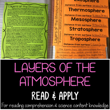 Layers of the Atmosphere Reading Comprehension Interactive Notebook