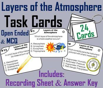 Layers of the Atmosphere Task Cards and Activities Bundle