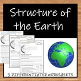 Structure of the Earth (Layers) - 3 Worksheets