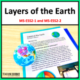 Earth's Layers Close Reading and Lab NGSS MS-ESS2-2