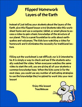 Layers of the Earth Flipped Homework