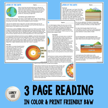 Layers of the Earth - Guided Reading + Worksheets