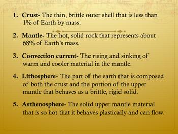 Layers of the Earth, Pangaea, and Plate Tectonics Vocabulary