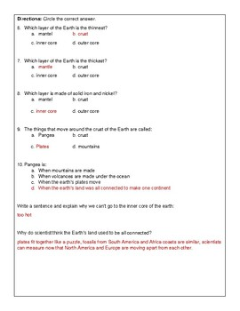 Layers of the Earth Quiz
