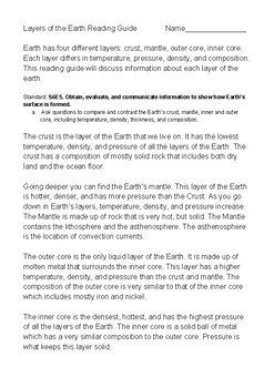 Layers of the Earth Reading Guide