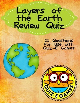 Layers of the Earth Review for Third Grade Science for Use in Quiz-E Games
