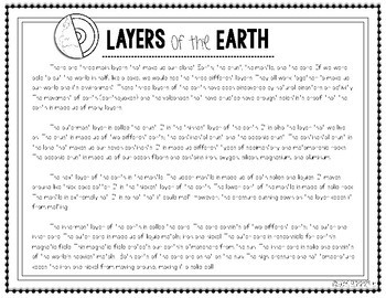 Layers of the Earth Science Activity