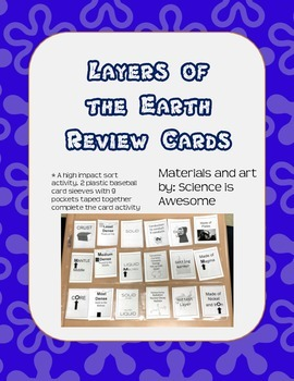 Layers of the Earth - Sorting Review Cards