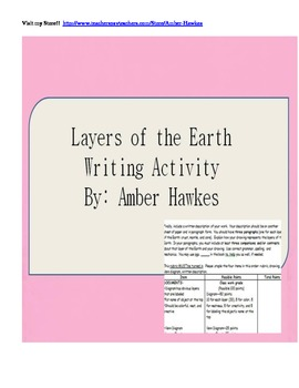Layers of the Earth Writing Activity (Rubric included!)