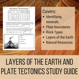 Layers of the Earth and Plate Tectonics Study Guide