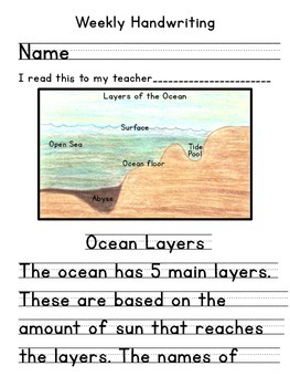 Layers of the Ocean Handwriting