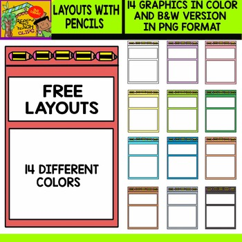 Layouts With Pencils - Free Set - 14 Different Colors