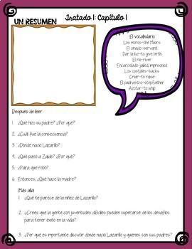 Lazarillo de Tormes Packet - Vocabulary, Questions, Projects & Key - in Spanish