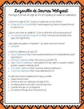 Lazarillo de Tormes Unit & Lesson Plans in Spanish