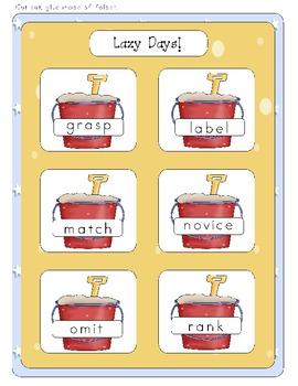 Lazy Days! - Synonyms - File Folder Game
