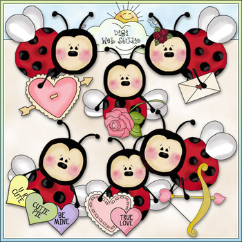 Lazy Ladybugs Be My Valentine - CU Colored Clip Art