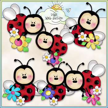 Lazy Ladybugs Love Flowers - CU Colored Clip Art