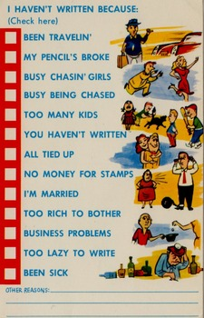 Lazy Persons Postcards for Very short letter writing pratice .