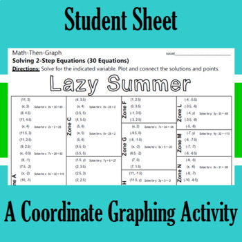 Lazy Summer - A Math-Then-Graph Activity - Solve 2-Step Equations