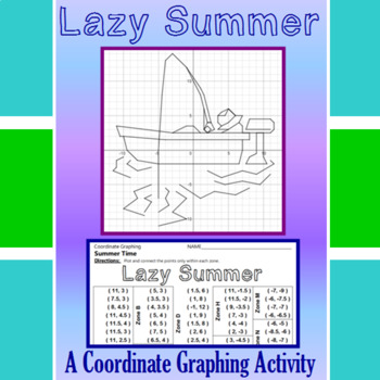 Lazy Summer - A Summer Time Coordinate Graphing Activity