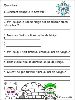 Le Bal de Neige Winterlude L'hiver French culture introduction and activities