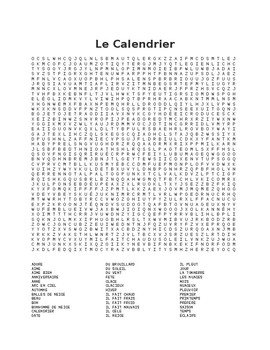 Le Calendrier -Word Find