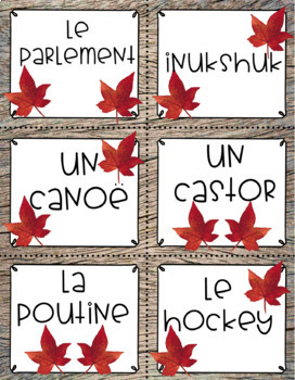 Le Canada: Cartes de vocabulaire