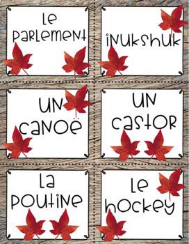 Le Canada: Cartes de vocabulaire
