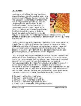 Carnaval et Mardis Gras Lecture en Français - French Reading on Carnival