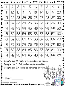 Le Centième jour d'école: 100th day of School Activities in French