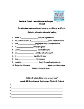 Le Conditionnel en Français: Worksheet & Practice, Bien Dit Ch. 8
