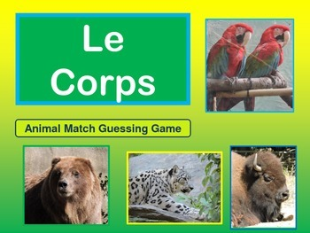 Le Corps- The Body in French - Animal Match Guessing Game