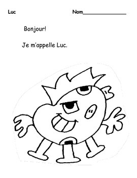 Le Corps-The Body in French- Listening/Reading Comprehension Coloring Activity